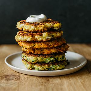 Cauliflower, Corn, and Cheddar Fritters