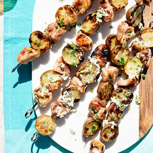 Chicken and Potato Kebabs with Orange-Chive Butter
