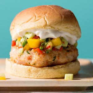 Shrimp Burgers with Mango Salsa