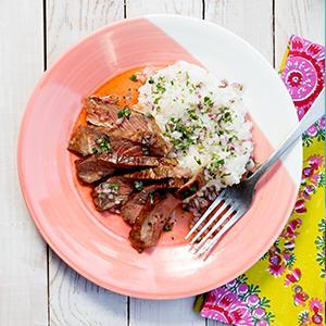 Tamari-Glazed Steak with Sweet-and-Spicy Rice