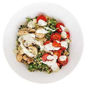 Mushroom, Kale, and Pesto Grain Bowl
