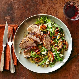 Grilled Pork Tenderloin with Apple and Arugula Salad