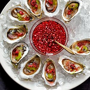Oysters with Cranberry Mignonette and Fennel Slaw