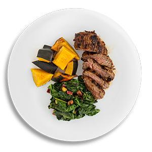 Marinated Steak Tips with Acorn Squash and Swiss Chard