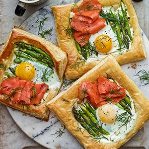 Asparagus, Salmon, and Egg Tartlets