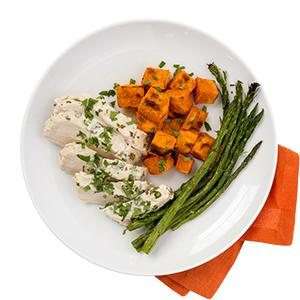 Roasted Cilantro Chicken with Sweet Potatoes and Asparagus