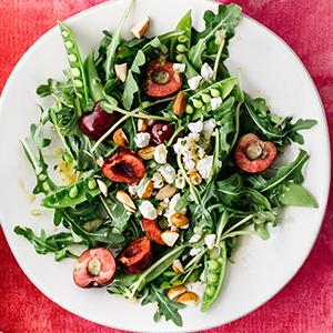 Arugula Salad with Cherries and Snap Peas