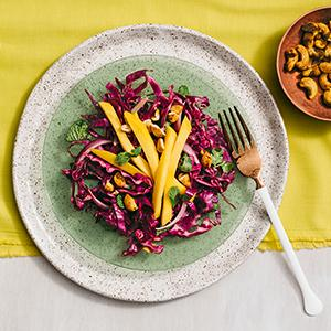 Cabbage Salad with Curried Cashews