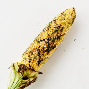 """""""Cheesy"""" Dill Grilled Corn"""