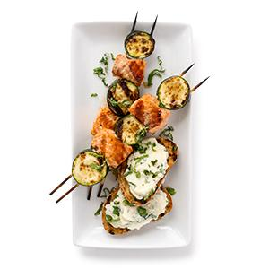 Salmon and Zucchini Kebabs with Ricotta Crostini