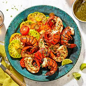 Grilled Lobster Tails with Salsa Verde and Heirloom Tomatoes