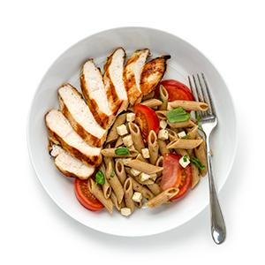 Grilled Chicken with Smoky Caprese Pasta Salad