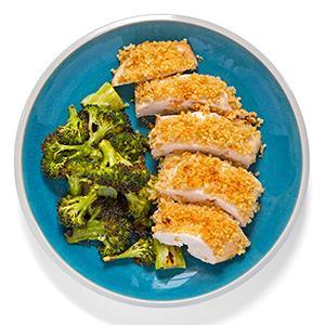 Quinoa-Crusted Chicken with Lemony Broccoli