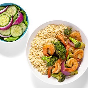 Shrimp Stir-Fry with Cucumber Salad