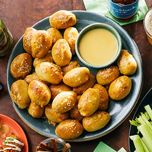 Pigs in a Pretzel Blanket with Honey Mustard Dipping Sauce