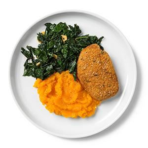 Baked Pork Chops with Kale and Butternut Squash Mash