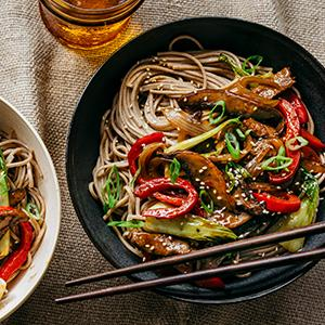 Beef and Mushroom Stir-Fry over Soba Noodles