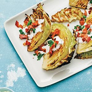 Roasted Cabbage Wedges with Caraway Ranch