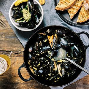 Beer-Roasted Mussels with Almond-Garlic Butter