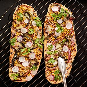 Grilled Flatbread with Corn and Poblanos