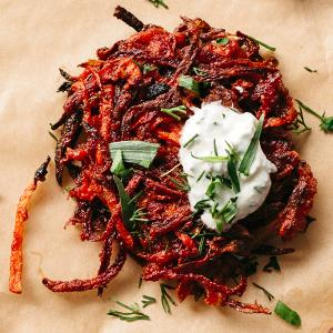 Smoky Beet Fritters with Feta Sauce