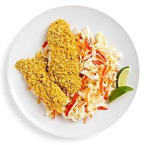 Tortilla-Crusted Fish with Tangy Lime Slaw