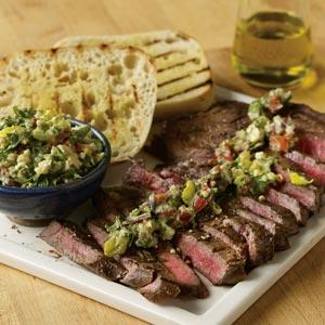 Kerry Altiero's Grilled Marinated Top Sirloin with I Dreamt of Jerry Chunky Blue Cheese