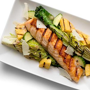 "Grilled Caesar Salad with Salmon and Polenta ""Croutons"""