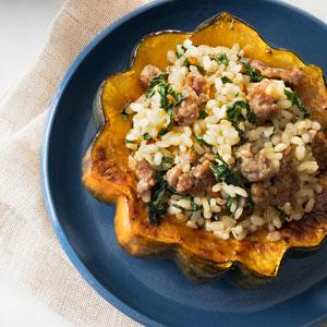 Acorn Squash Stuffed with Sausage and Rice
