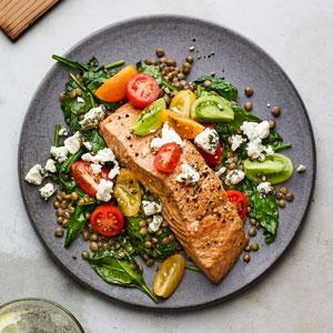 Grilled Cedar-Plank Salmon with Lentils