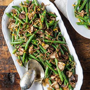 Glazed Green Beans and Shiitake Mushrooms with Fried Shallots