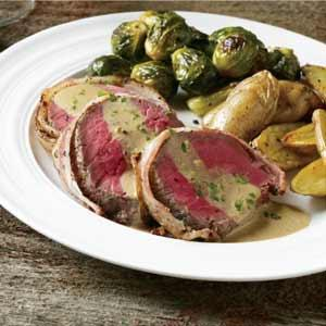 David Turin's Bacon Wrapped Herb & Pepper Crusted Beef Tenderloin
