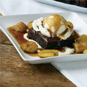 David Turin's Rum Flambeed Bananas with Brownies and Sweet Mascarpone