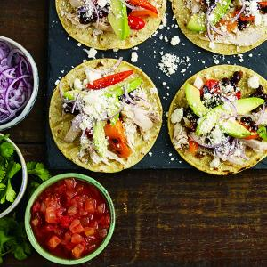 Chicken and Cotija Tostadas with Tomatillo and Lime