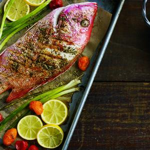 Roasted Red Snapper with Herbs and Chipotle Sauce