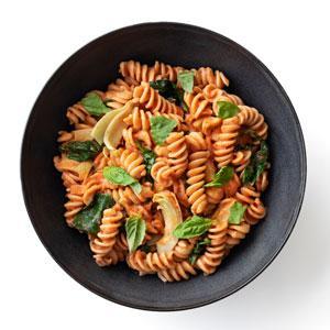 Creamy Tomato Pasta with Spinach and Artichokes