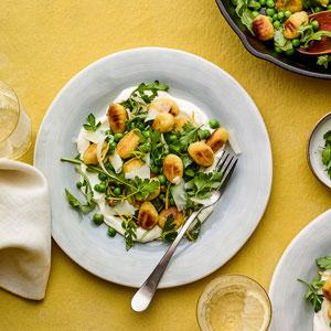 Gnocchi and Spring Greens with Whipped Ricotta