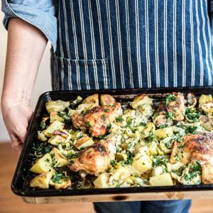 Sheet Pan Chicken with Potatoes, Artichokes, and Fennel