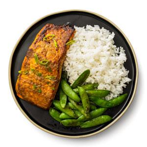 Broiled Salmon and Snap Peas with Jasmine Rice