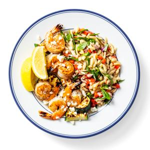 Broiled Shrimp and Zucchini with Summery Orzo Salad