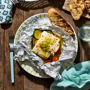 Grilled Fish and Zucchini Packets with Scallion-Lime Butter