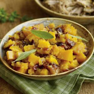 Slow Cooked Pork Butt with Butternut Squash and Dried Cranberries
