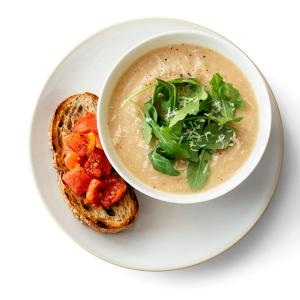 Creamy Cauliflower Soup with Tomato Toast