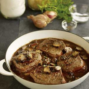 Quick Braised Petite Sirloins with Mushroom Demi-Sauce