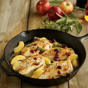 Roasted Chicken Breasts with Apples, Cranberries and Sage