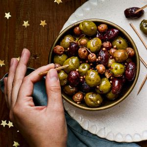 Lemon and Garlic Roasted Olives