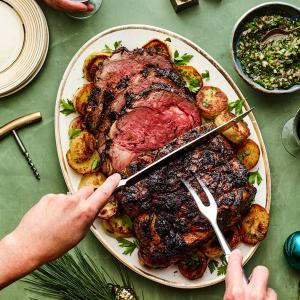 Porcini-Rubbed Rib Roast with Shallot-Herb Sauce