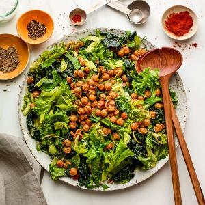 Winter Greens Salad with Crispy Chickpeas