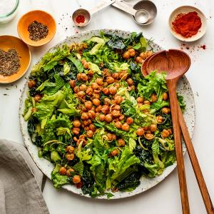 Winter Greens Salad with Crispy Chickpeas