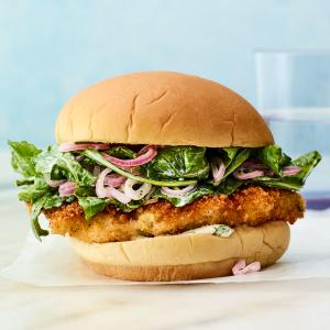 Crispy Chicken Sandwiches with Herby Mayo and Arugula